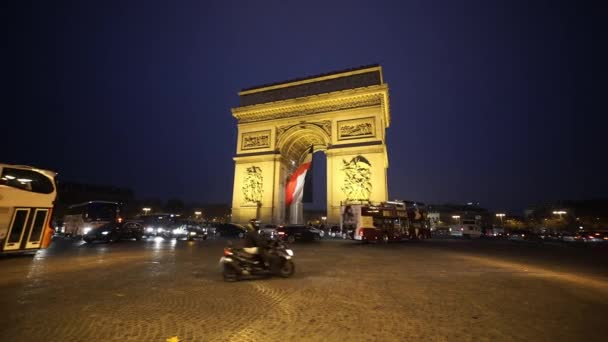 Wide angle shot of Triumphs arch called Arc de Triomphe