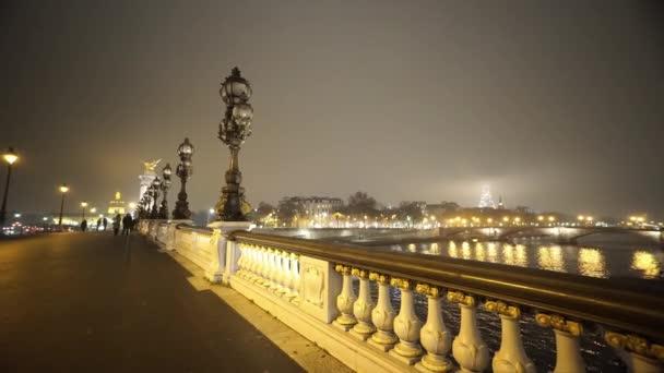 River Seine and Alexandre III bridge in Paris in a misty night