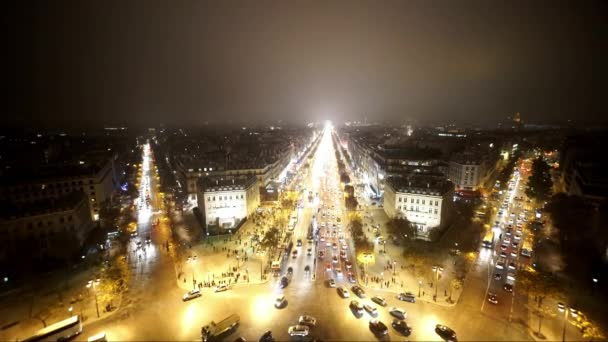 Wide angle aerial shot of Champs Elysees Avenue by night - PARIS, FRANCE