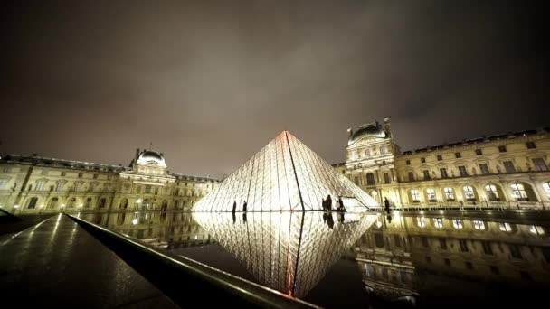 Wide angle shot of the Louvre pyramids   - PARIS, FRANCE