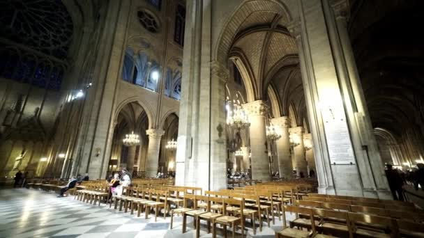 Wide angle shot of Notre Dame cathedral in Paris   - PARIS, FRANCE