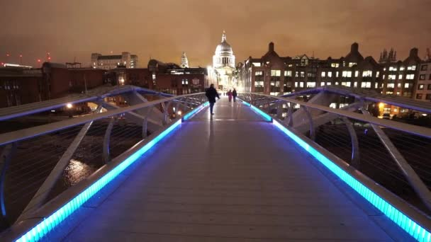 London Millennium Bridge leading to St Pauls Cathedral great night shot  - LONDON, ENGLAND