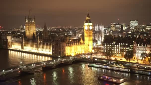 Houses of Parliament Westminster Bridge and Big Ben aerial view by night  - LONDON, ENGLAND