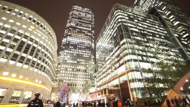 London Canary Wharf modern office and financial district great night shot  - LONDON, ENGLAND