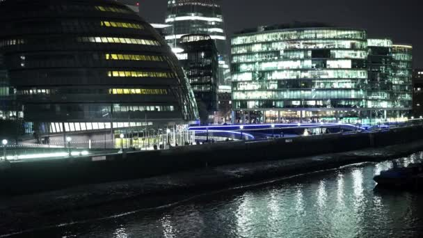 Thames riverside at Queens Walk by night  - LONDON, ENGLAND