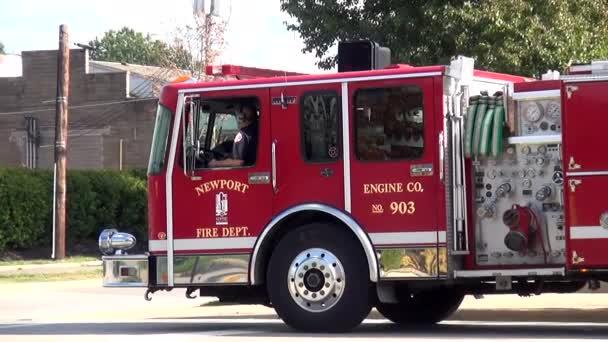 New Port Fire department Engine - CINCINNATI, OHIO USA– stock footage