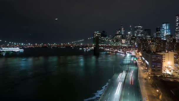 Manhattan skyline časová prodleva střílel v noci