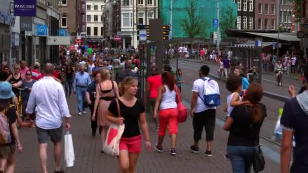 Davy lidí, kteří jdou v pěší zóně v Amsterdamu