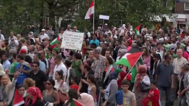 Huge political  protest march in the streets of Amsterdam