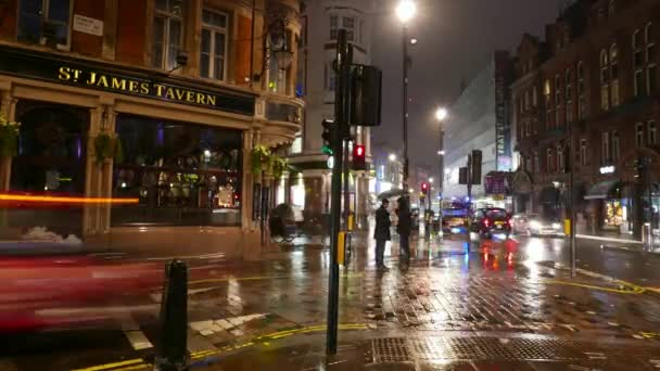 Time lapse of Shaftesbury Avenue London Westend with St James Tavern by night