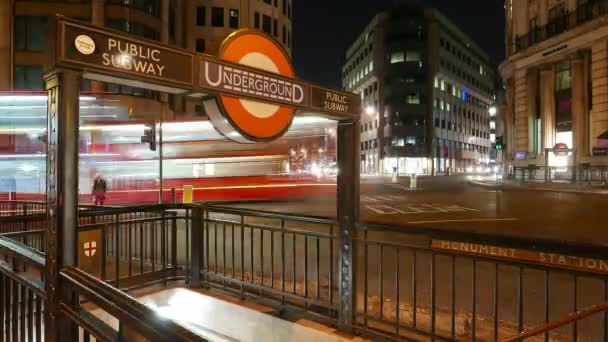 Night time-lapse of London Underground station in 4k