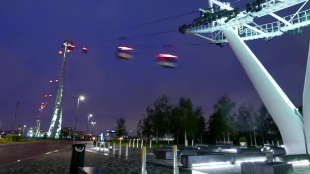 Time lapse of Emirates Airline cable railway London by night