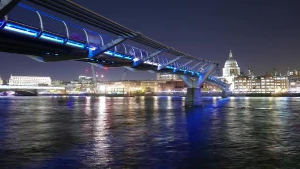 Time-lapse of Millennium Bridge and St. Pauls cathedral London by night