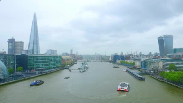 Time-lapse of River Thames London on a rainy day