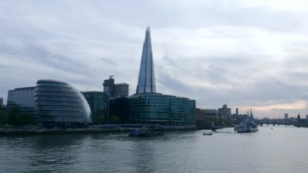 Time-lapse of London City Hall and the Shard in the evening