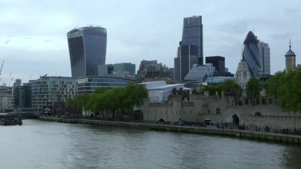 Time-lapse of Modern district of City of London from Tower Bridge