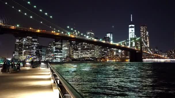 Wonderful evening shot of New York with Brooklyn Bridge New York, USA