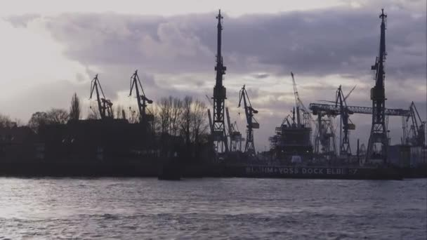 Silhouette der Hamburger Hafen-Hamburg-Deutschland