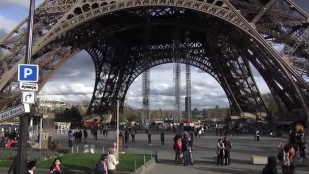 Under the Eiffel Tower of Paris - PARIS, FRANCE  MARCH 30, 2013