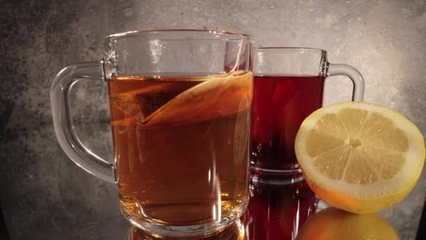 Delicious lemon tea in close-up view