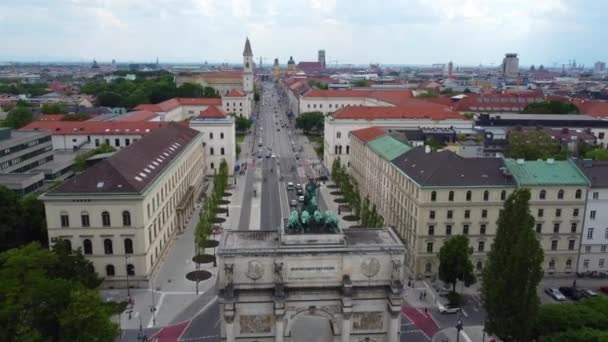 Victory Gate in Munich at Ludwig street - aerial view