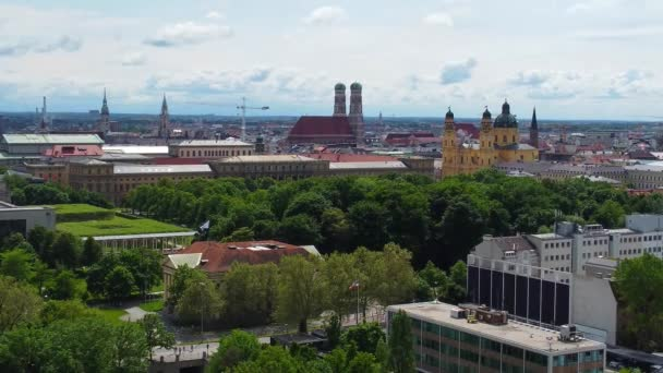 Aerial view over the city center of Munich - historic district