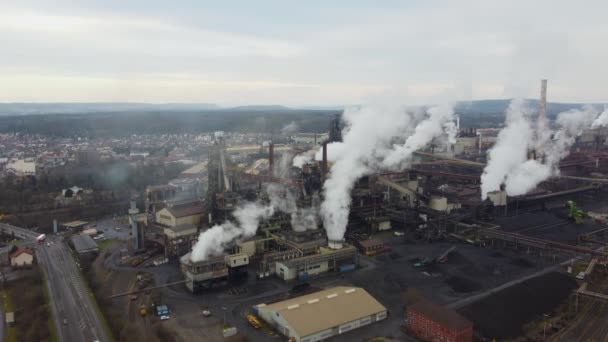 Amazing view over an industrial plant by drone