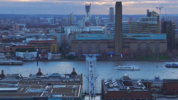 Aerial view over Millennium Bridge