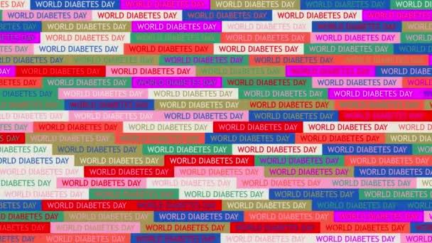 Weltdiabetestag. Hintergrund. nahtloses Muster. Schleifenmosaik-Animation. Banner oder Hintergrund mit bunten, blinkenden Text-Symbolen.