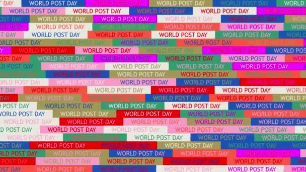Světový den pošty. pozadí. bezproblémový vzor. animace mozaiky smyčky. nápis nebo pozadí s barevnými, blikajícími ikonami textu.