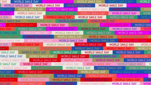 Weltlächeltag. Hintergrund. nahtloses Muster. Schleifenmosaik-Animation. Banner oder Hintergrund mit bunten, blinkenden Text-Symbolen.