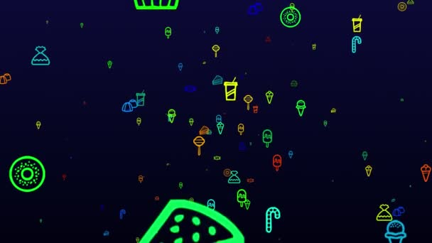 Happy Sweetest Day. neon icons background. seamless pattern. loop animation. small, multicolored icons, illustrations or logos appear, fly slowly on black backdrop.