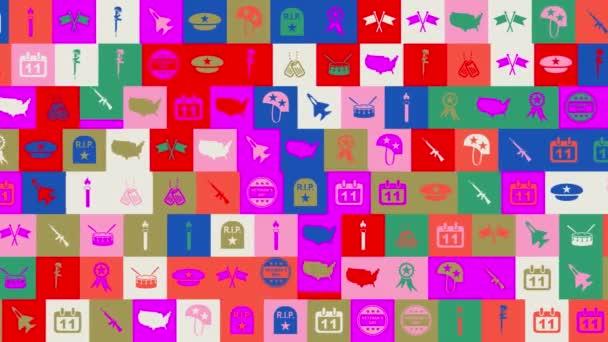 Den veteránů. pozadí. bezproblémový vzor. animace mozaiky smyčky. banner nebo pozadí s barevnými, blikajícími ikonami, logy nebo ilustracemi.