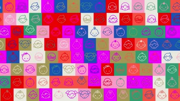 Universal Childrens Day. pozadí. bezproblémový vzor. animace mozaiky smyčky. banner nebo pozadí s barevnými, blikajícími ikonami, logy nebo ilustracemi.