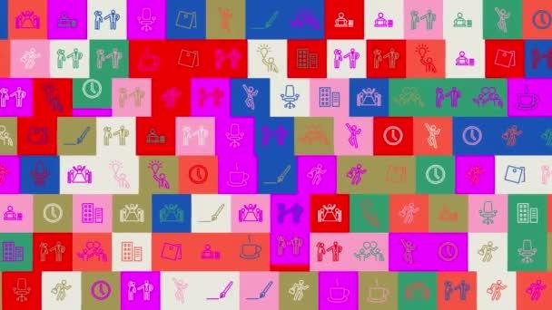 Happy Boss Day. Hintergrund. nahtloses Muster. Schleifenmosaik-Animation. Banner oder Hintergrund mit bunten, blinkenden Symbolen, Logos oder Illustrationen.