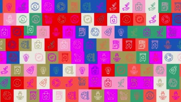Recyklovaný den. pozadí. bezproblémový vzor. animace mozaiky smyčky. banner nebo pozadí s barevnými, blikajícími ikonami, logy nebo ilustracemi.