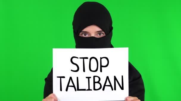 Afghanistan. Protest for Afghanistan. tagline. View of sign stop Taliban. Taliban Afghanistan war 2021.