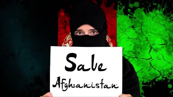 Afghanistan. Protest for Afghanistan. tagline. View of sign save Afghanistan. Taliban Afghanistan war 2021.