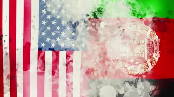 USA flag. Afghanistan flag. Taliban flag. 3d seamless loop animation. Afghanistan war. USA and Afghanistan relation concept. Taliban offensive