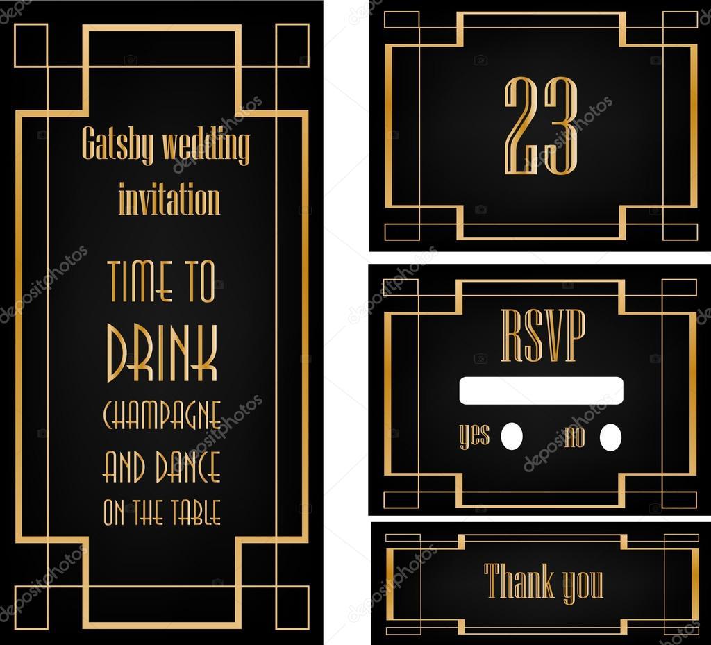 Art deco wedding invitation set stock vector martist 99774322 great gatsby theme party wedding invitations set vector by martist stopboris Image collections