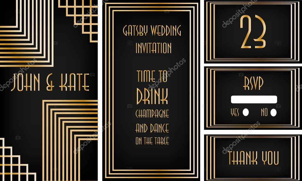 Art deco wedding invitation set stock vector martist 99774532 golden on black background art deco wedding invitation set for great gatsby themed party vector by martist stopboris