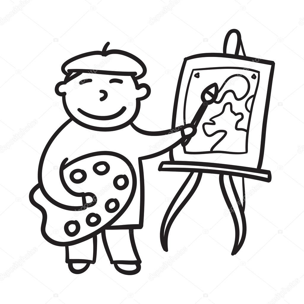 jongen tekening getrokken vectorillustratie