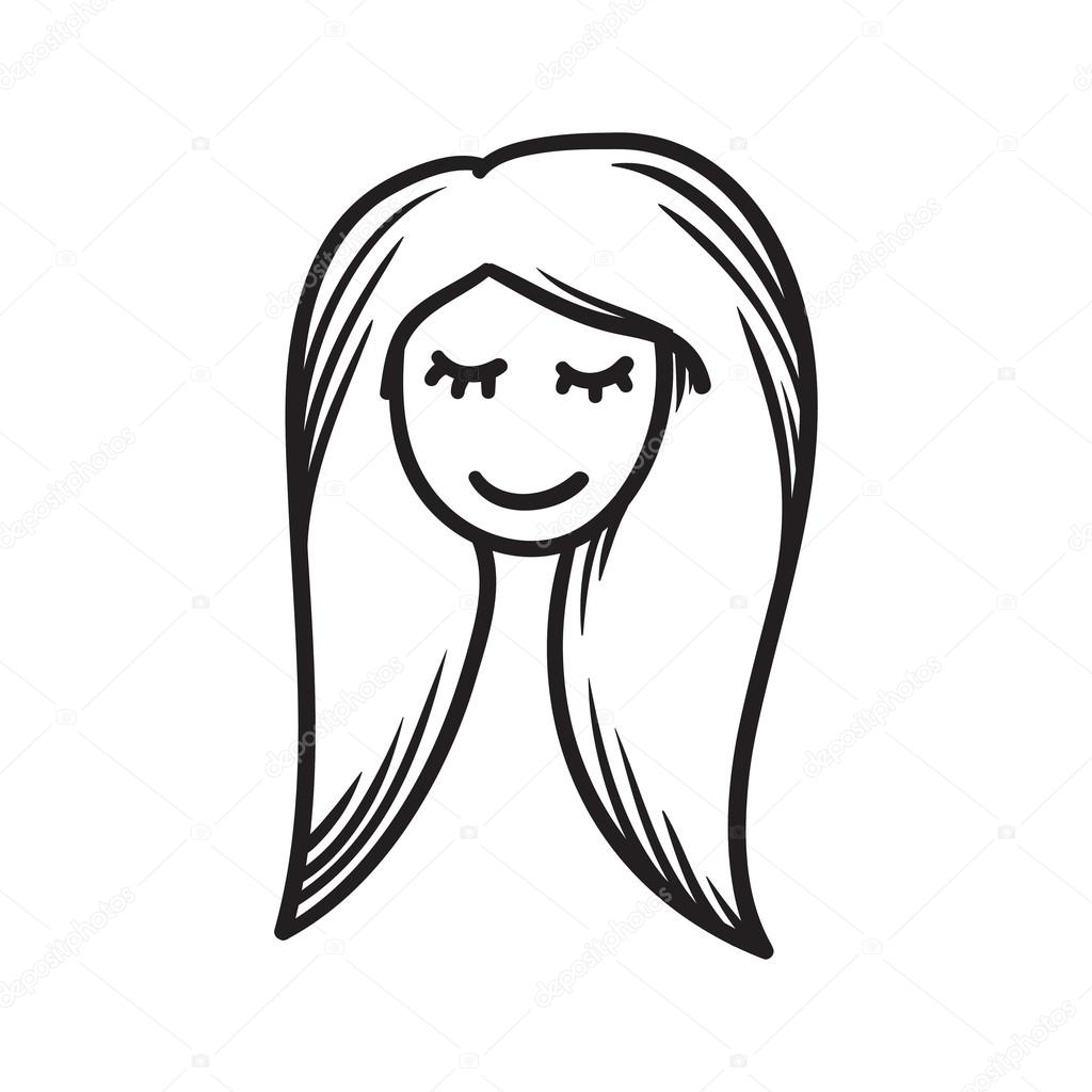 Woman Face Vector Icon Hand Drawn Doodle Illustration Black Lines