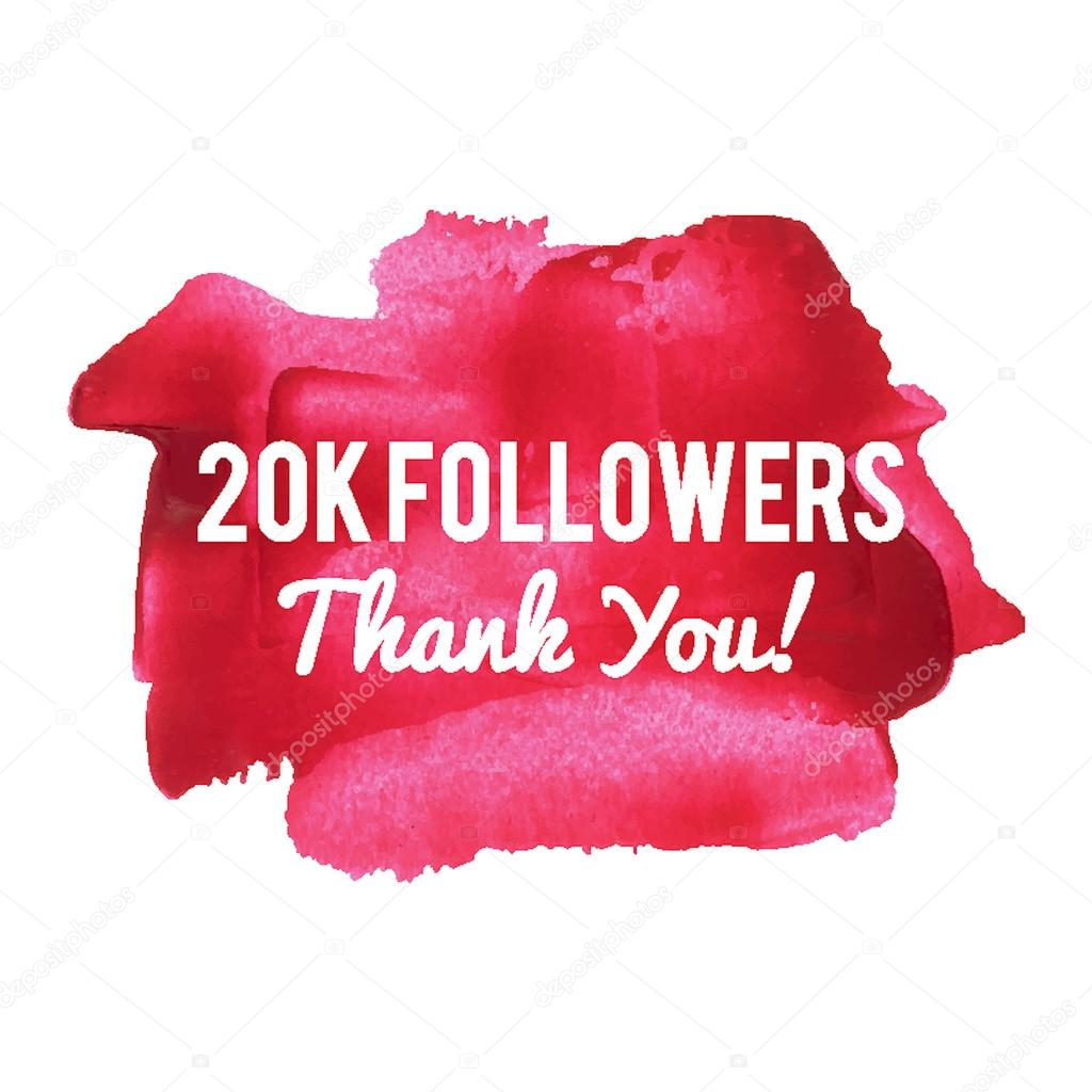 20k followers thank you card for network friends and followers