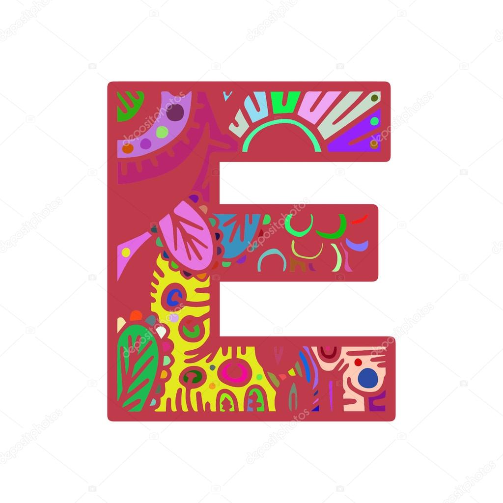 Letter E Hand Drawn Doodle Style Lettering Word Colorful Stock Vector