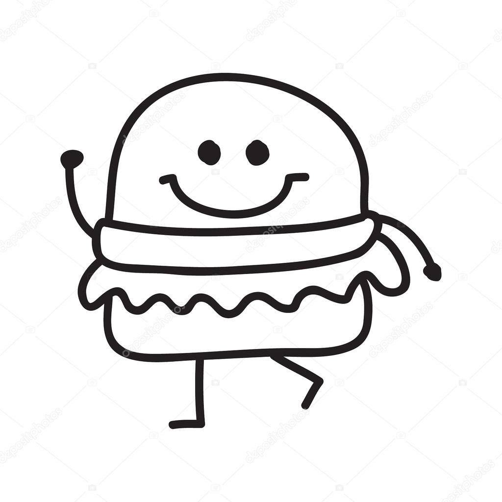 Funny Burger Doodle Style Vector Illustration Black And White