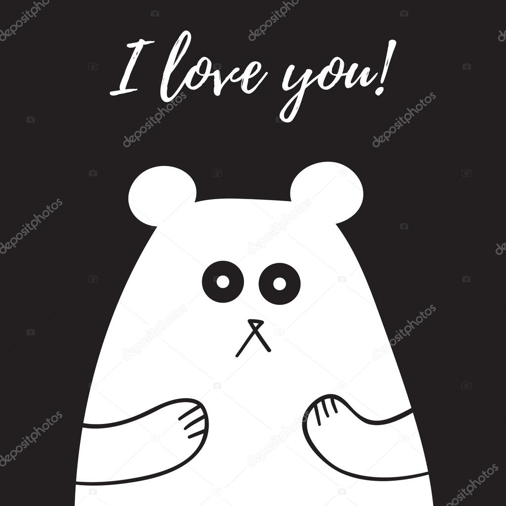 Sweet teddy bear with i love you note vector illustration black sweet teddy bear with i love you note vector illustration black and white tatianaku voltagebd Gallery