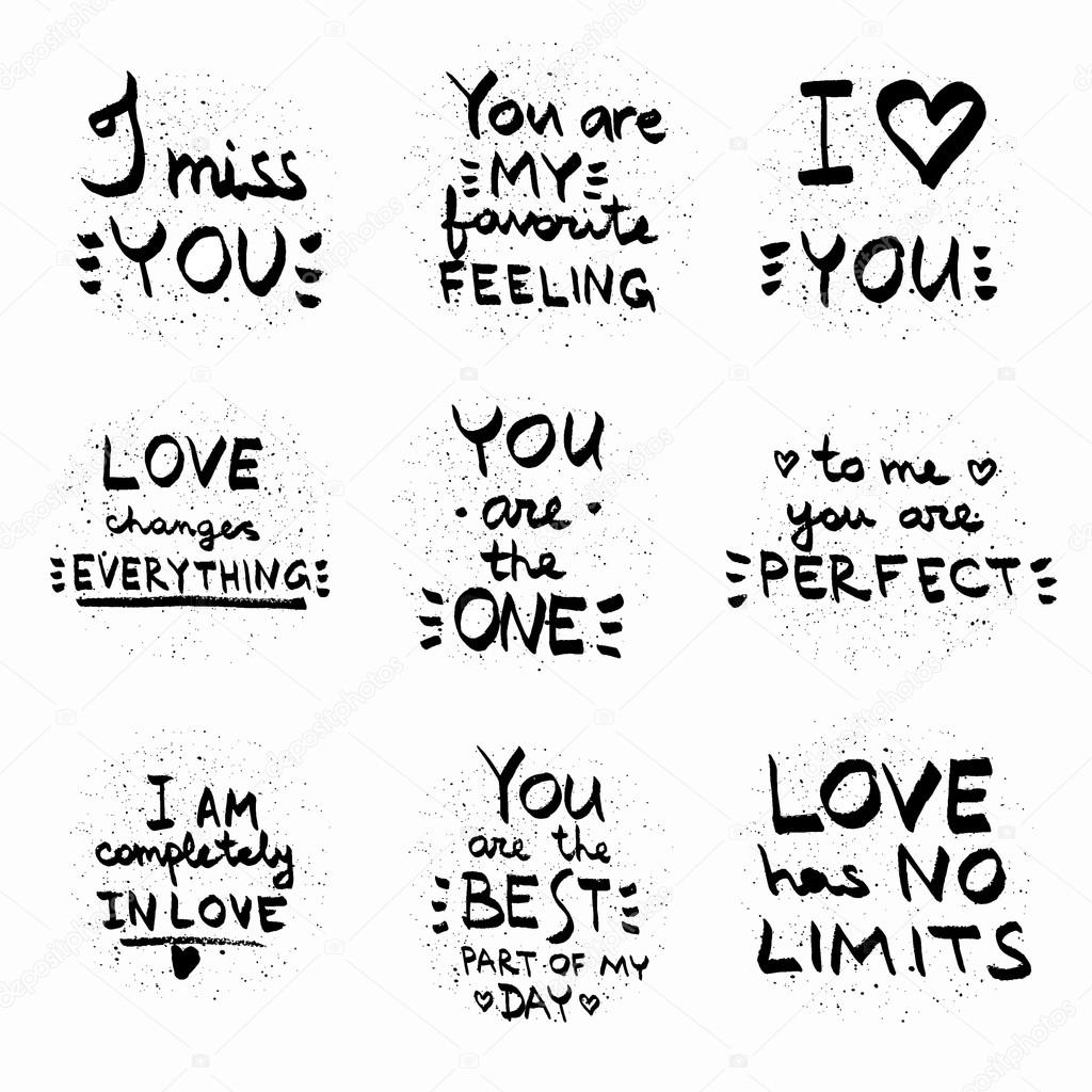 Love quotes black on white vector text written on painted backgr image vectorielle