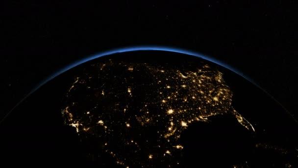 USA z vesmíru. Hrdinské Sunrise. Země z vesmíru