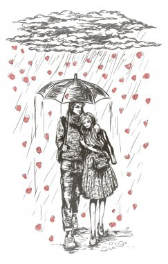 Young couple under umbrella in the rain. clip art vector